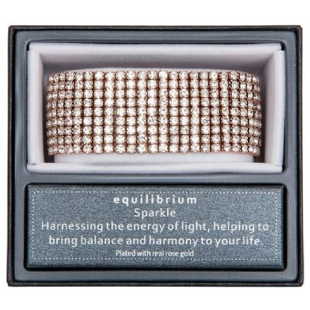 Rose Gold Plated 9 Rows Diamante Bracelet